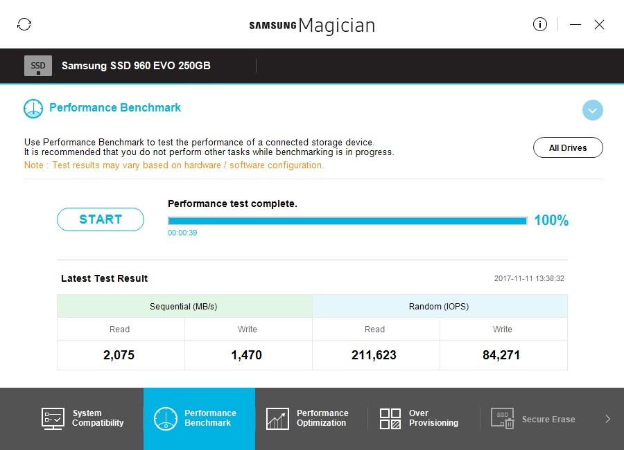 Samsung Magician teljesítmény teszt